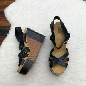 See by Chloé Black and Tan Leather Wedges Size 8
